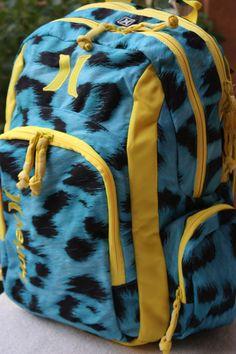 c7d2ffb274f Hurley Cyan Yellow Cheetah Backpack Bookbag School Supplies Laptop Holder  New