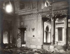 """Dining Room of the Winter Palace after the attempted assassination of Tsar Alexander II of Russia in 1880.On the evening of 5 February 1880,Stephan Khalturin,from the Narodnaya Volya (radical revolutionary group which hoped to ignite a social revolution),set off a charge under the dining room of the Winter Palace,right in the resting room of the guards a storey below. Being late for dinner, the emperor was unharmed;although 11 other people were killed and 30 wounded. """"AL"""""""