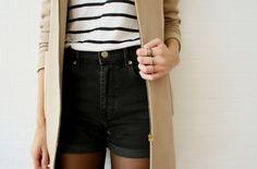 High waist shorts and stripes