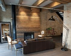 I like the 'chimney' wall. Could have this style with inlet for wall mounted TV too.