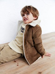 02d5d95458db Image 1 of CORDUROY JACKET WITH FAUX SHEARLING LINING from Zara Kids  Fashion Boy