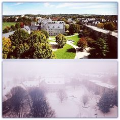 Awesome contrast! Fall and winter, as seen from Slusher Tower. (Submitted by Madison Osleger) #HokieSnowDay #VirginiaTech