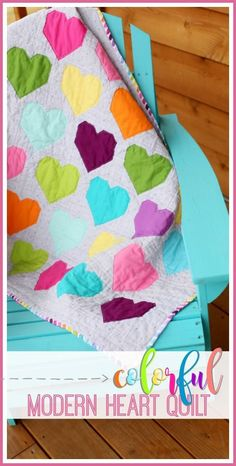 Colorful Modern Heart Quilt - - a simple diy that you can make yourself!! great quilt tutorial pattern for a beginner! - - Sugar Bee Crafts