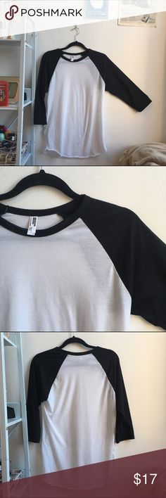 AA Balck & White 3/4 Sleeve Raglan Amazing baseball-style 3/4-sleeve tee in black and white - men's fit is loose and comfortable for studying or tucked into dark denim with your fave sneaks! Never worn American Apparel Shirts Tees - Long Sleeve