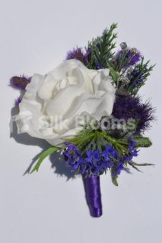 Scottish Ivory Fresh Touch Rose and Purple Sea Holly Thistle Wedding Buttonhole #artifcial #wedding #flowers #buttonholes #bouttoniere