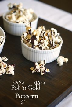 """Pot 'O Gold Popcorn - looks DELISH and it has cute """"gold buttons"""" in it!  Perfect for St. Patty's Day!"""
