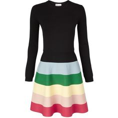 Redvalentino Kintted Rainbow Skirt Dress ($610) ❤ liked on Polyvore featuring dresses, black, round neck dress, flared dress, red valentino dress, fit & flare dress and kohl dresses