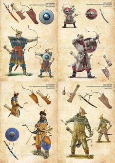 Archers on Foot with Recurved Bows Medieval Weapons, Medieval Knight, Medieval Fantasy, Military Art, Military History, Armadura Medieval, Templer, Knights Templar, Dark Ages