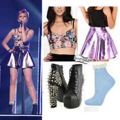 Perrie Edwards: Metallic Skirt, Floral Bustier | Steal Her Style