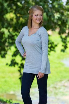 Long Sleeve Slim Fit Top - Heather Grey