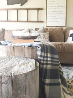 How to make a tree stump coffee table, plus the perfect way to style it! Living room rustic