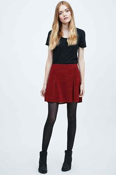 Free People Suede Pleat Mini Skirt in Red