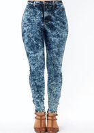 Plus Size Acid Washed High Waist Skinny Jeans
