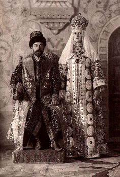 "1903 Ball in the Winter Palace. Nicholas II and Alexandra Fyodorovna. Fancy Dress Ball, held in the Winter Palace on 11 and 13 February 1903 - the famous masquerade, during which all the nobility of the Russian Empire was present in a very luxurious costumes ""pre-Petrine times."" These costumes have survived etched in photographs, which are a valuable historical source. So far, this ball is the most famous festival in St. Petersburg during the reign of Nicholas II"