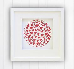"10x10""/25x25cm Small 3D Lasercut Red Love Hearts White Box Framed Wall Art II"