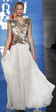 Reem Acra - white and silver dress