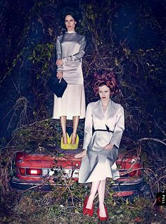 Hothouse Flowers: Spring's alluring, graphic take on modernism is in full, decadent bloom. Carolyn Murphy and Karen Elson try out the new silhouettes in VOGUE January issue. Photographed by Steven Klein Fashion Editor: Grace Coddington. Vogue Editorial, Editorial Fashion, Fashion Models, Fashion Beauty, Fashion Images, Grace Coddington, Carolyn Murphy, Karen Elson, Campaign Fashion