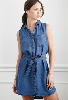 cabd7ba2a3 FOREVER 21 Belted Chambray Shirt Dress