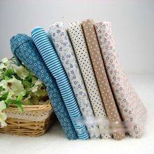 Nueva 6COLORS 50 * 50 cm azul tela de algodón fat bundle tilda coser el paño de bricolaje artesanía textil hogar acolchado de retazos de tela(China (Mainland))