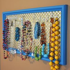 Recycled frame jewelry display.