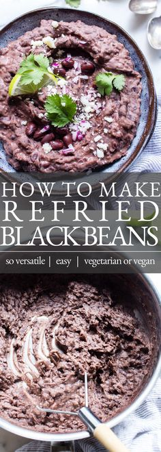 Making a batch of Refried Black Beans (frijoles refritos) at home is super simple. With just a few ingredients and spices, this refried black beans recipe can be shared as a side or used as a component in your favorite Mexican food recipes. This recipe is vegetarian and vegan friendly. | Vegetarian Refried Beans | Vegan Refried Beans | Easy Refried Beans Vegetarian Main Dishes, Best Vegetarian Recipes, Good Healthy Recipes, Mexican Food Recipes, Vegetarian Meals, Healthy Eats, Dinner Recipes, Cinco De Mayo