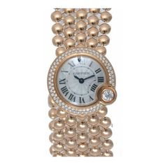 Cartier Ballon Blanc Mother of Pearl Dial 18kt Pink Gold Diamond... ($28,160) ❤ liked on Polyvore featuring jewelry, watches, blue diamond watches, analog wrist watch, diamond dial watches, rose gold jewelry and diamond bezel watches