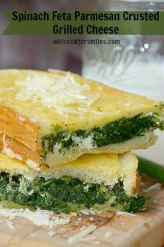 Spinach Feta Parmesan Crusted Grilled Cheese | willcookforsmiles.com