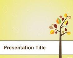 Árbol con las hojas Plantilla PowerPoint PPT Template