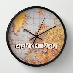 adventure map Wall Clock by Sylvia Cook Photography - $30.00