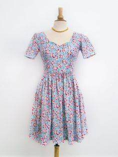 SALE Kitty vintage sweetheart style floral fit & flare by papercup, $66.00