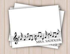Custom Music Teacher Note Cards set of 10 by MadelineLewisDesigns, $15.00