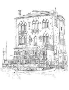 """""""Venice Coloring Book for Adults"""" is an original coloring book for adults and smart children. Relax, grab your pencils and color famous landmarks from the romantic city of Venice, Italy. Featuring beautiful detailed sketches of landmarks from Venic. Cool Coloring Pages, Coloring Pages To Print, Coloring For Kids, Adult Coloring Pages, Coloring Sheets, Coloring Books, Illustration, Color Pencil Art, Mandala Coloring"""