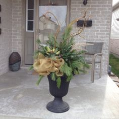 Christmas urn arrangement...made by ME! ;)  C