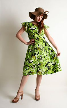 Vintage 1960s Dress  Bright Lime Green Floral Golden by zwzzy