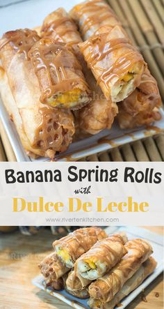 Fried spring rolls made of Banana and Jackfruit drizzled with caramel Dulce De Leche Sauce! It's so easy to make. Find out how to make it! Banana Spring Rolls, Banana Roll, Filipino Recipes, Pinoy Recipe, Filipino Food, Fried Spring Rolls, Turon, Cooking Risotto, Caramel Dip