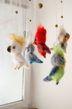 Animal crib mobile Birds Parrots needlefelted by FeltPetsShop