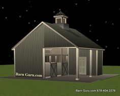 Barn Plans - Two Stall Horse Barn With Tack / Feed. Horse Barn Plans for sale. Large selection of Horse Barn Plans For Sale.
