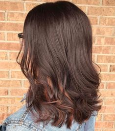 Red Peekaboo Highlights, Peekaboo Hair Colors, Brown Hair With Highlights, Brown Blonde Hair, Blonde Highlights, Subtle Highlights, Brunette Hair, Hair Color Auburn, Auburn Hair