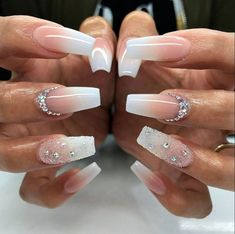 20 Worth Trying Long Stiletto Nails Designs - Stylendesigns awesome 25 Fancy White Coffin Nails - Bright and Fasionable Designs Long Stiletto Nails, White Coffin Nails, White Nails, Long Nails, Frensh Nails, Prom Nails, Wedding Nails, Glitter Nails, Wedding Acrylic Nails