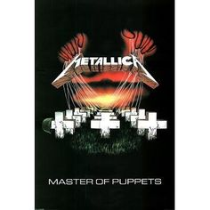 An officially licensed Metallica Textile Flag. The flag features the cover of the third album, Master of Puppets, by heavy metal giants, Metallica. It includes the large red hands above the image with strings attached to the headstones. Rock Posters, Band Posters, Concert Posters, Heavy Metal Rock, Heavy Metal Music, Heavy Metal Bands, Metallica Albums, Metallica Art, Metallica Quotes