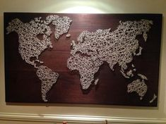 World map in string art i made (with more than a thousand nails and about 150 meters of cotton twine) - Album on Imgur