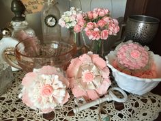 Shabby Chic Fabric Flower/Wedding decor/ wedding flower/Vintage Flower/ Bridal Hairpiece/Baby Girl Headband flowers/ Crafts embellishments by ShabbyChicLoft on Etsy