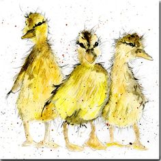 Ducklings greeting Card, printed on high quality watercolour type card 145 x 145mm with cream textured envelope. Individually wrapped in a