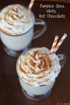 Pumpkin Spice White Hot Chocolate is an absolutely delicious treat. It& a rich and creamy homemade white hot chocolate with a touch of warm pumpkin pie spice. Perfect for getting cozy with a on a crisp fall night. Pumpkin Recipes, Fall Recipes, Holiday Recipes, Zone Recipes, Drink Recipes, Brownie Desserts, Yummy Treats, Yummy Food, Fall Drinks