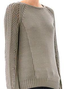 Helmut Lang detailed rib with lace stitch sleeves
