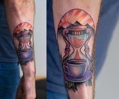 Follow me on instagram k.dumka #hourglass #tattoo #tattoos #ink #inked #art #watercolor #aquarella #colored #neotraditional #sleeve #arm #men #inspirations #drawing #dumka #artist instagram k.dumka