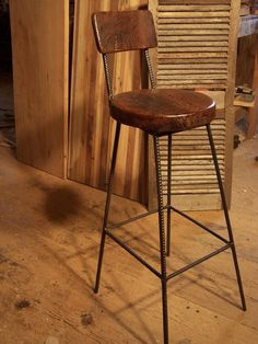 Reclaimed Oak Bar Stools with Metal Legs and Back Rest. Could be the perfect stools for the breakfast bar. Oak Bar Stools, Rustic Bar Stools, Farmhouse Stools, Vintage Bar Stools, Bar Stools With Backs, Industrial Bar Stools, Counter Height Stools, Bar Chairs, Extra Tall Bar Stools