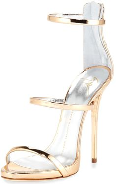 2e37c5dcdc81 Giuseppe Zanotti Metallic leather sandals Strappy Sandals Heels