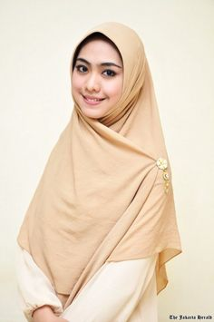 Plain dress and square scarf equals pretty