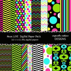 16 Neon Love  Digital Papers. These are beautiful!! Great for invitations, cards, and paper goods. Great scrapbooking papers!